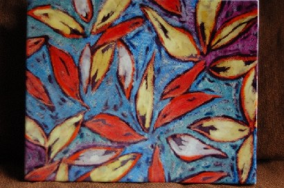 Ceramic tile painting--Autumn Leaves